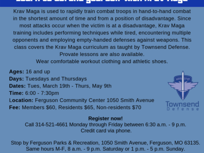 March thru May Self-Defense Classes at Ferguson Community Center